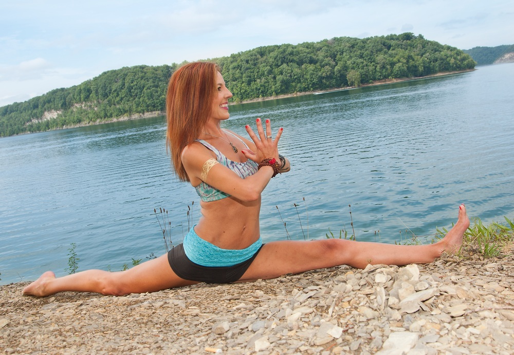 Living on the edge. Take chances. Lake Cumberland, Ky   Do your daily yoga practice and progress is sure to follow.  You do not need to be able to do the full splits to practice yoga.  The important part is to start where you are.  Practice full acceptance, trust the journey, and most importantly have fun with it!