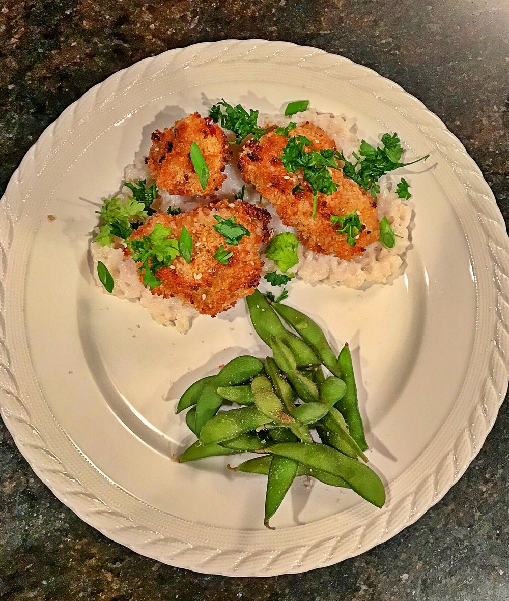 Sticky Asian Cauliflower (oven baked) with coconut rice and edamame