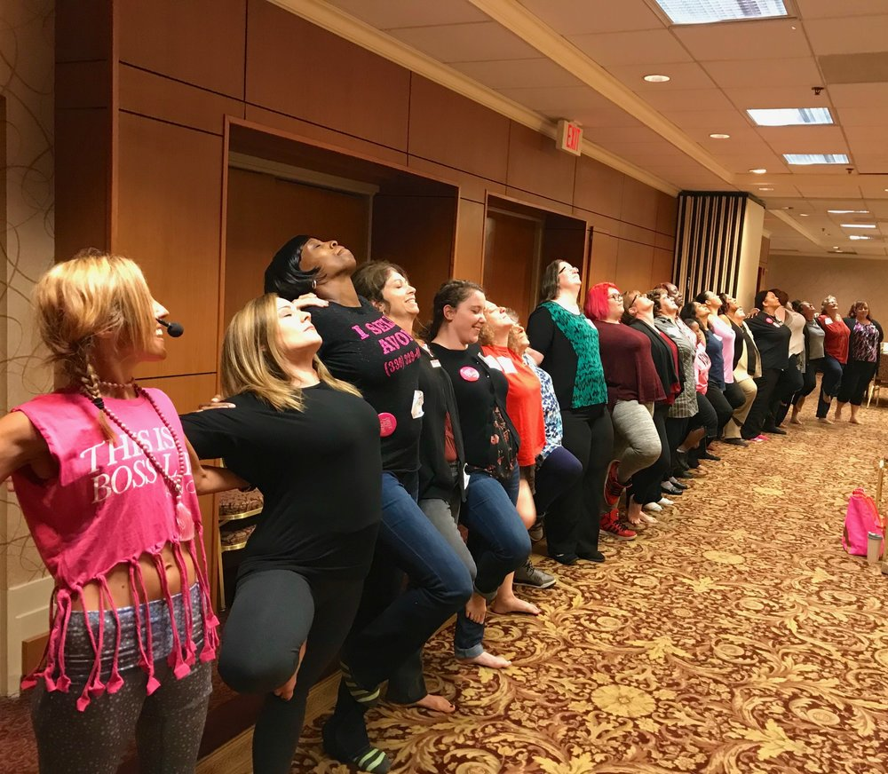 Teaching Yoga for  Avon's  sales team in Pittsburgh. Contact me to teach yoga for your employees!