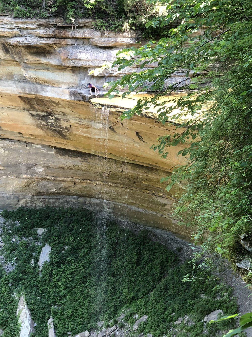 Clifty Falls has beautiful hiking. No, not me in this photo. I believe in taking risks but not putting my life in danger.