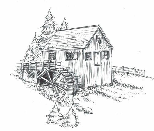 """An illustration of the likely appearance of the Waterhouse Grist Mill in the 1700s, drawn by Michael Learned for the cover of """"The Waterhouse Grist Mill Saga"""" by Nathan L. Jacobson"""