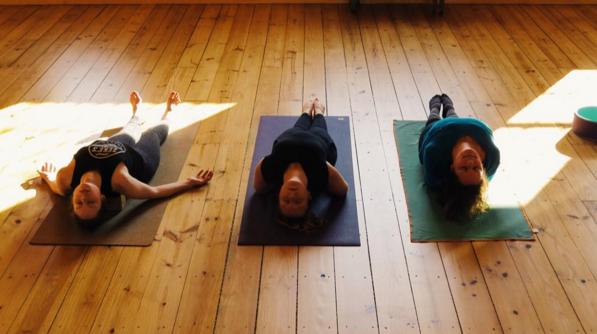 Me, Charlotte and Karin doing matsyasana at 108 Yoga Space. Photo credit: Tanja Smith