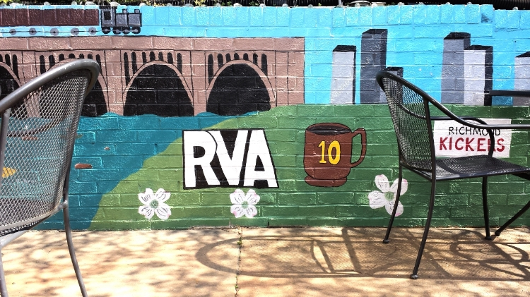 RVA mural at  10 Italian Cafe,  where I stopped for a super-necessary latte before Yaco's class!