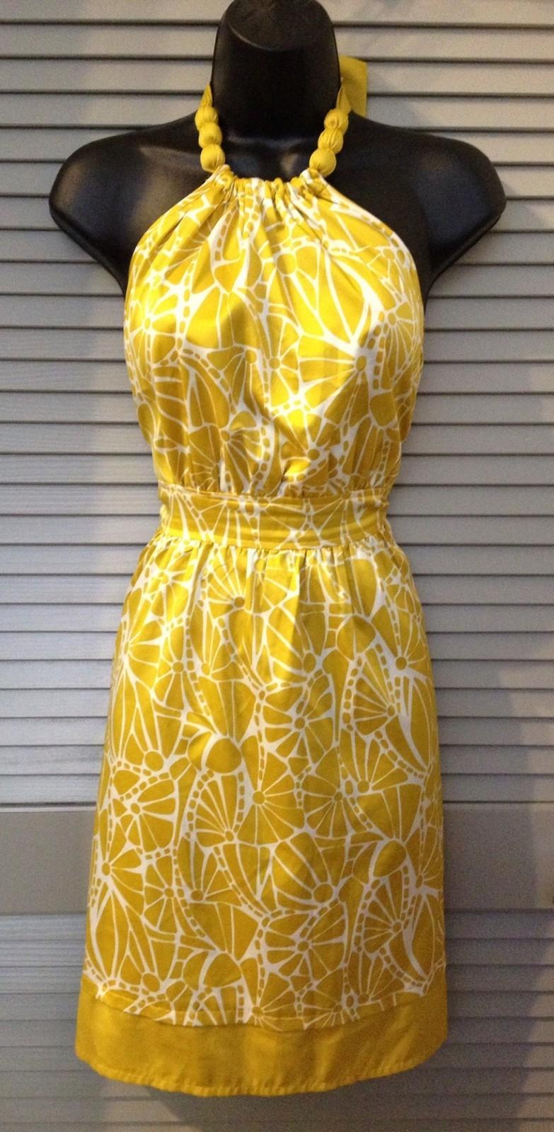 Women's Yellow Floral Print Halter Dress
