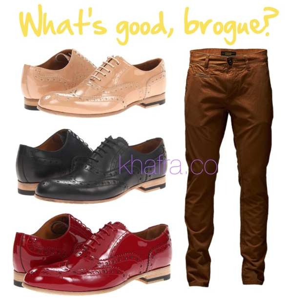 Click here to see the Paul Smith     Herbert Mens Only Brogue   – a retail value of $545.00!     OR …      CLICK THE LINKS BELOW TO SEE OPTIONS WE'VE FOUND FOR YOU!       Hawkings McGill Leather Brogue       Dune Nude Leather Lace-up Brogue       Poste Mistress Beatrice Brogue      These beauties by   Allen Edmonds! – $250.00        And the feature find –> Best in price and show –>  Original Penguin Brogue  – $152.99
