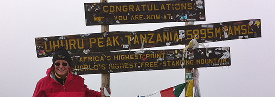 Laura Cunningham at the top of Kilimanjaro
