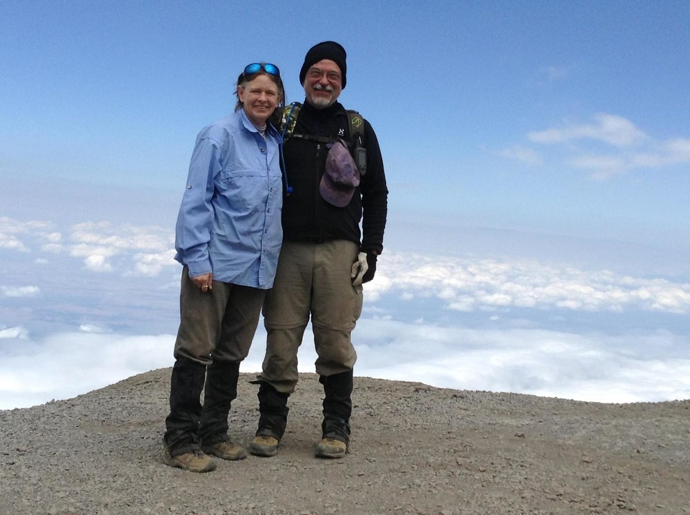 Susanne and Steve Leininger on the top of Kilimanjaro