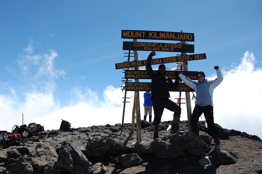 Mariana Arnoldi at the top of Kilimanjaro
