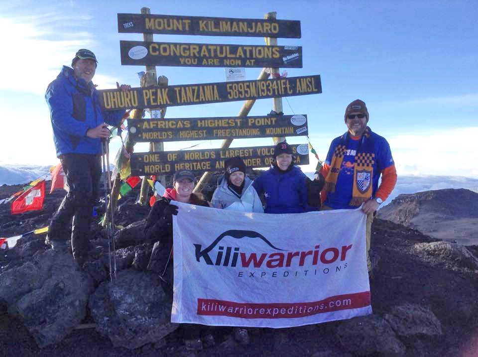 Kathleen Hadden at the top of Kilimanjaro