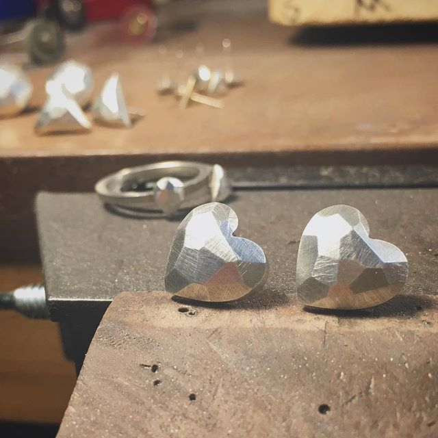 In the shop finishing up some new pieces for @feenaboutique just in time for #Valentines Day! #jerseycity #jewelry #shop #silver #studs #earrings #jc #shopsmall #shoplocal #handmade #hearts #facet #love #loveit