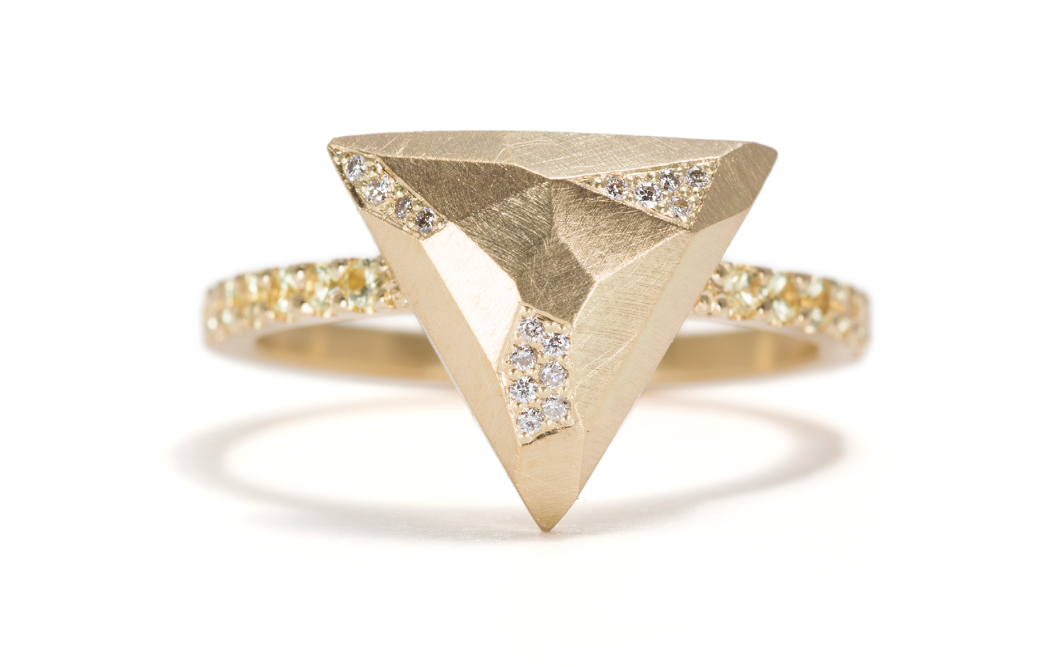 gold facet princess white carat cut diamond p ring