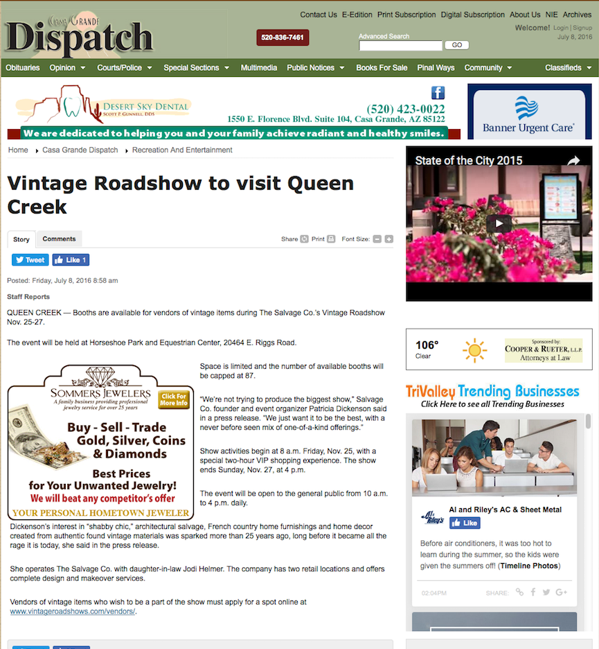 Vintage Roadshow to visit Queen Creek