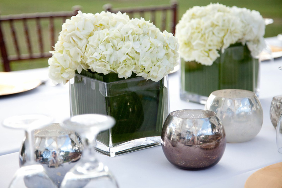13 - more mercury glass votive holders and hydrangea with leaf wrap