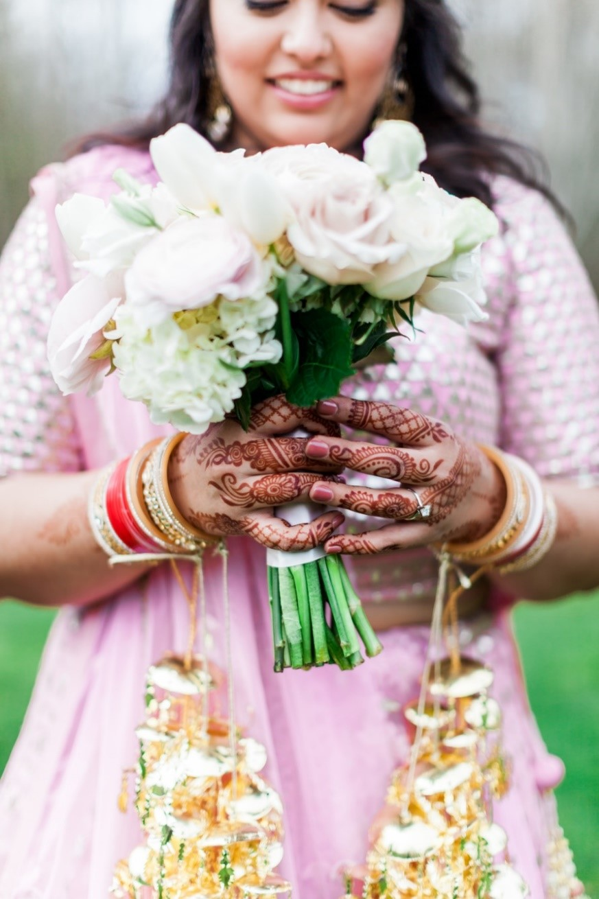 Indian bride with bouquet, Luma Weddings