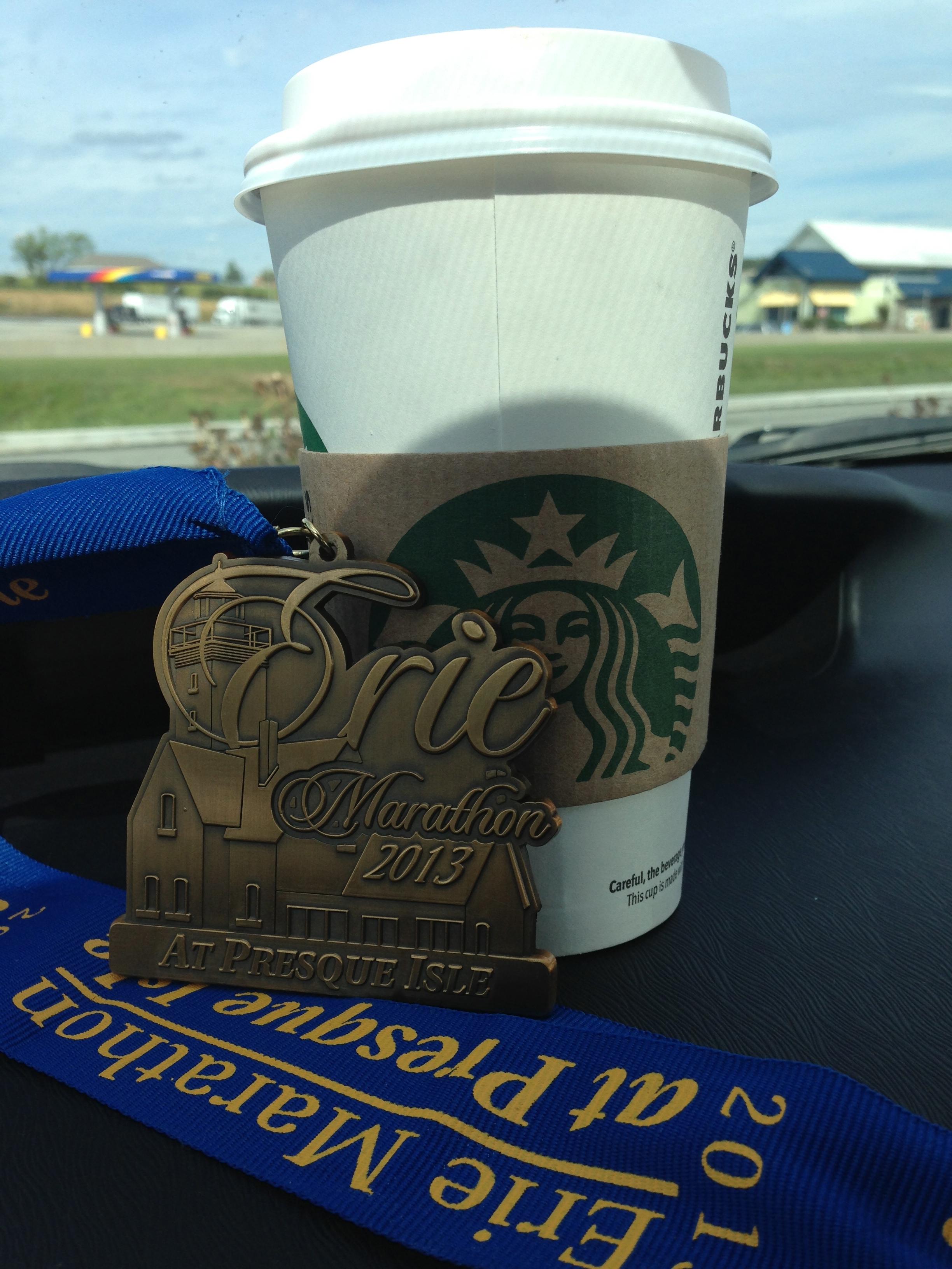 Celebratory Starbucks on the way home!