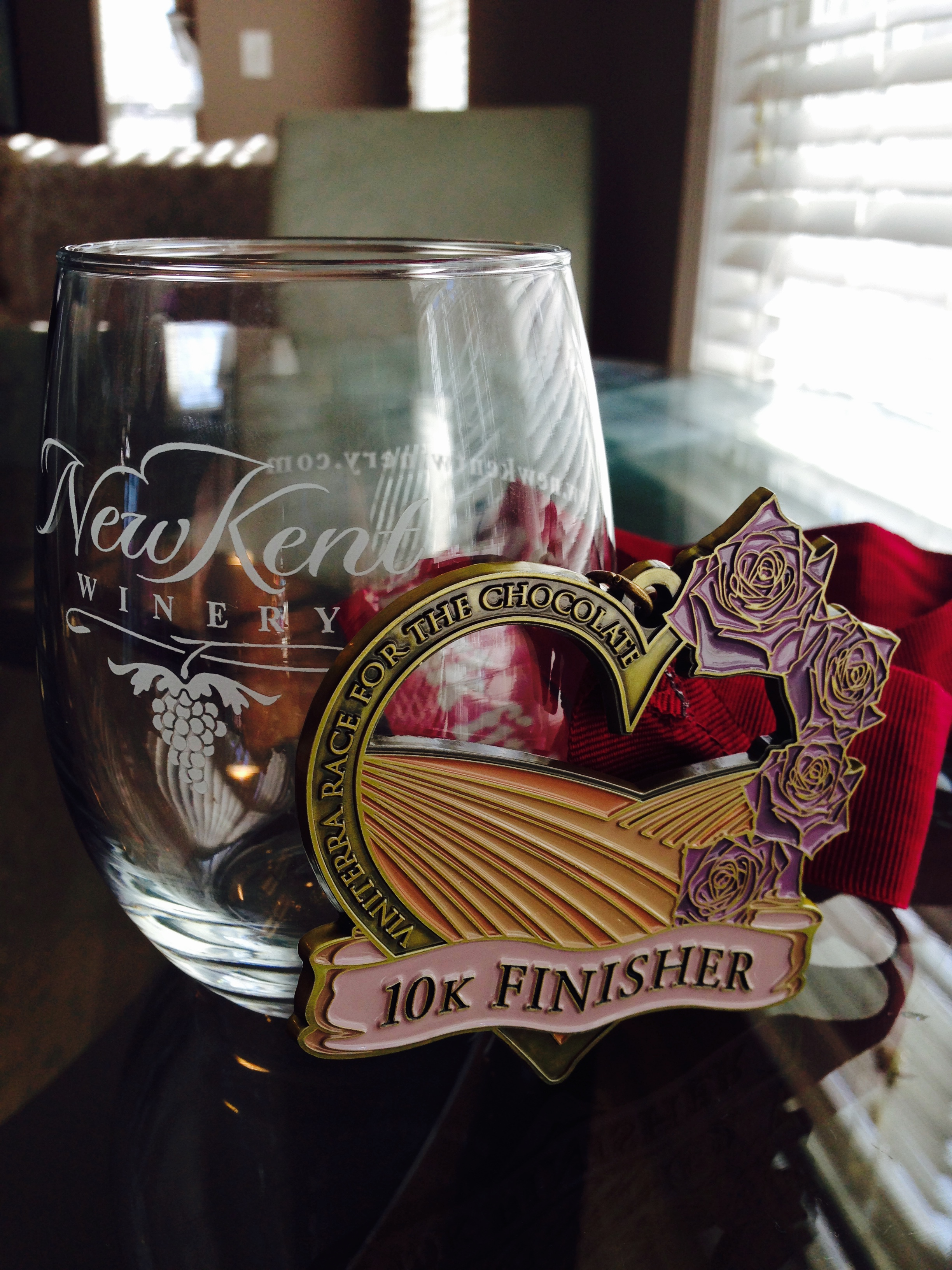 Race for the Chocolate 10K - medal and wine glass