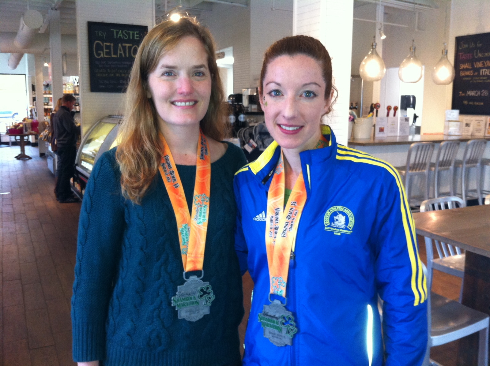 LB and I post-Shamrock Marathon in 2013 - new PRs for us both!