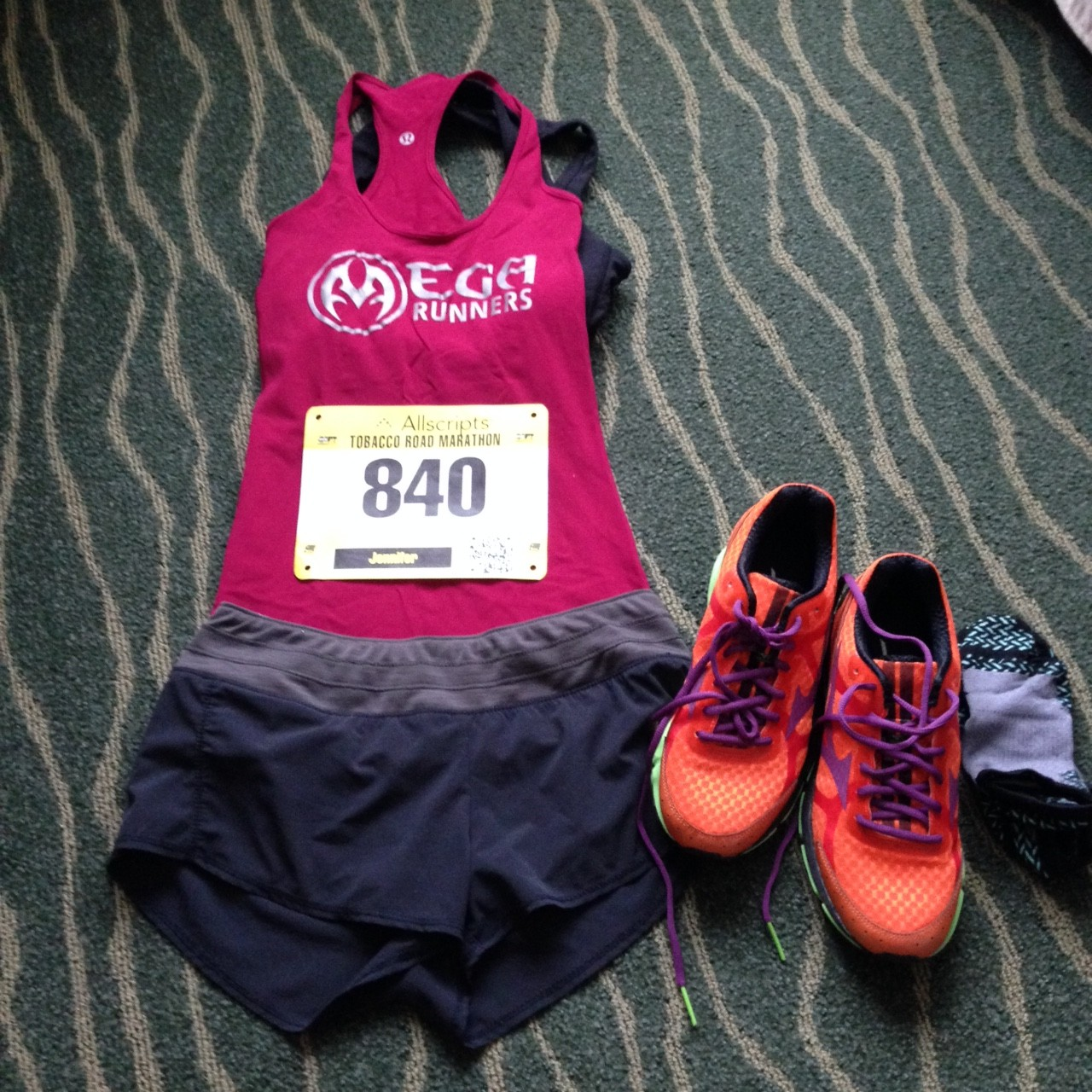 Getting the race outfit ready to go.  Relying on the trusty Mizuno Wave Riders (v 17) to get me through.