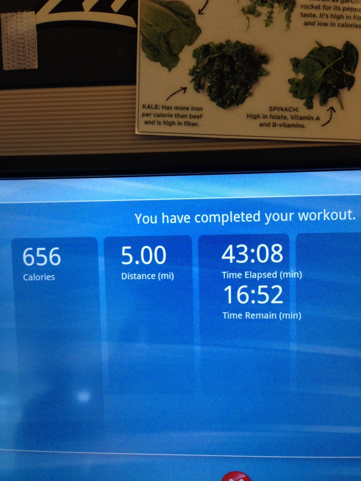 First run back!  Slow, and on the treadmill thanks to a freakishly cold early morning! (Could not bear the thought of getting back into tights...AGAIN)
