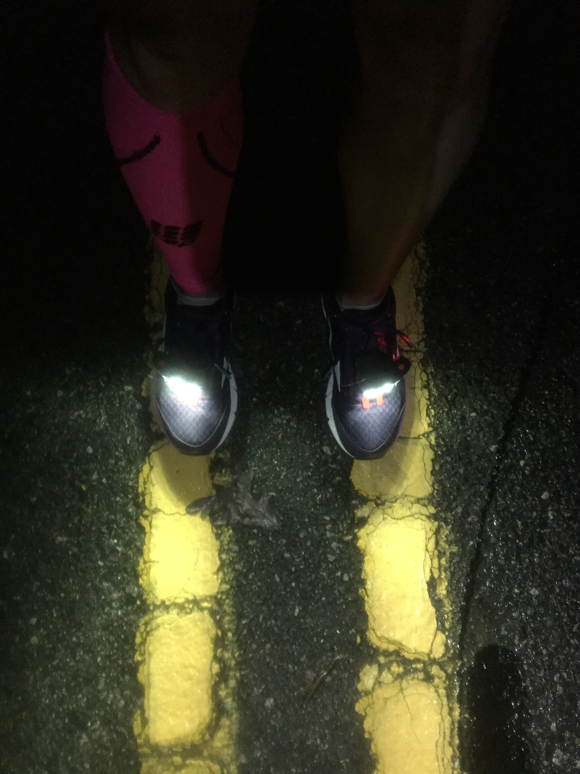 One of my first runs back - got to break in my NightRunner shoe lights!