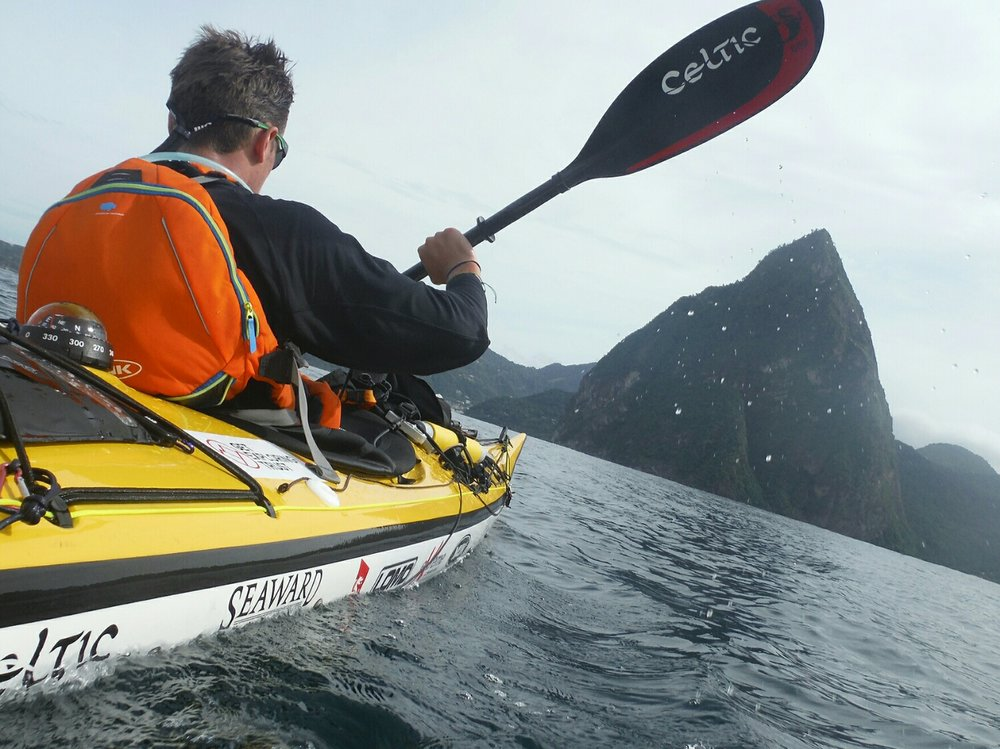 Paddling past The Pitons