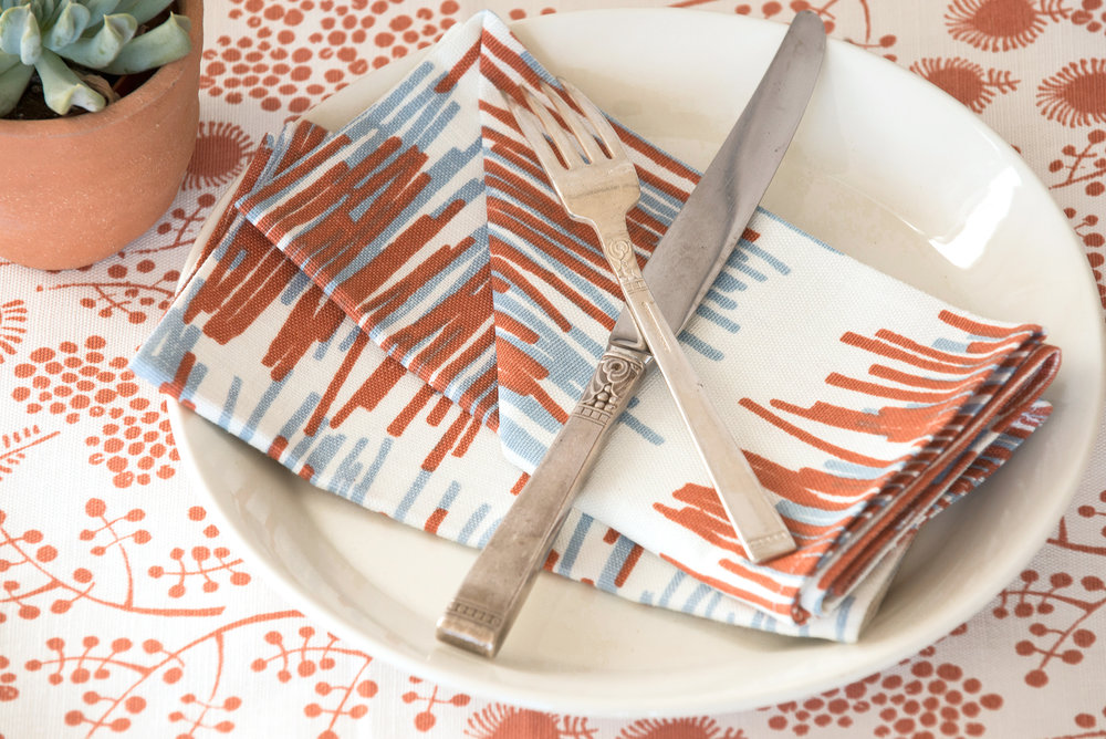 Reed napkins in terra-cotta