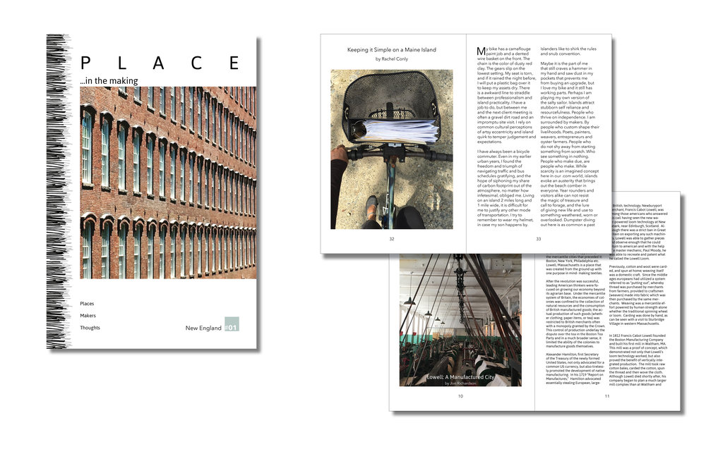 Draft cover and essay for the first issue of PLACE...in the making