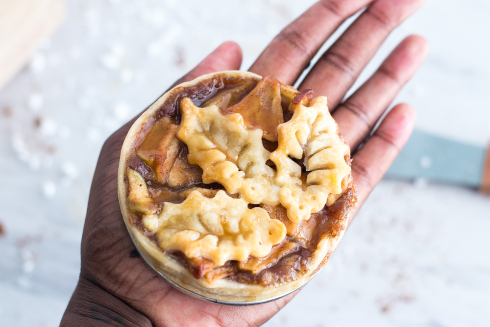 Holding a mini apple pie from Little Guy Baker | ietishana.com