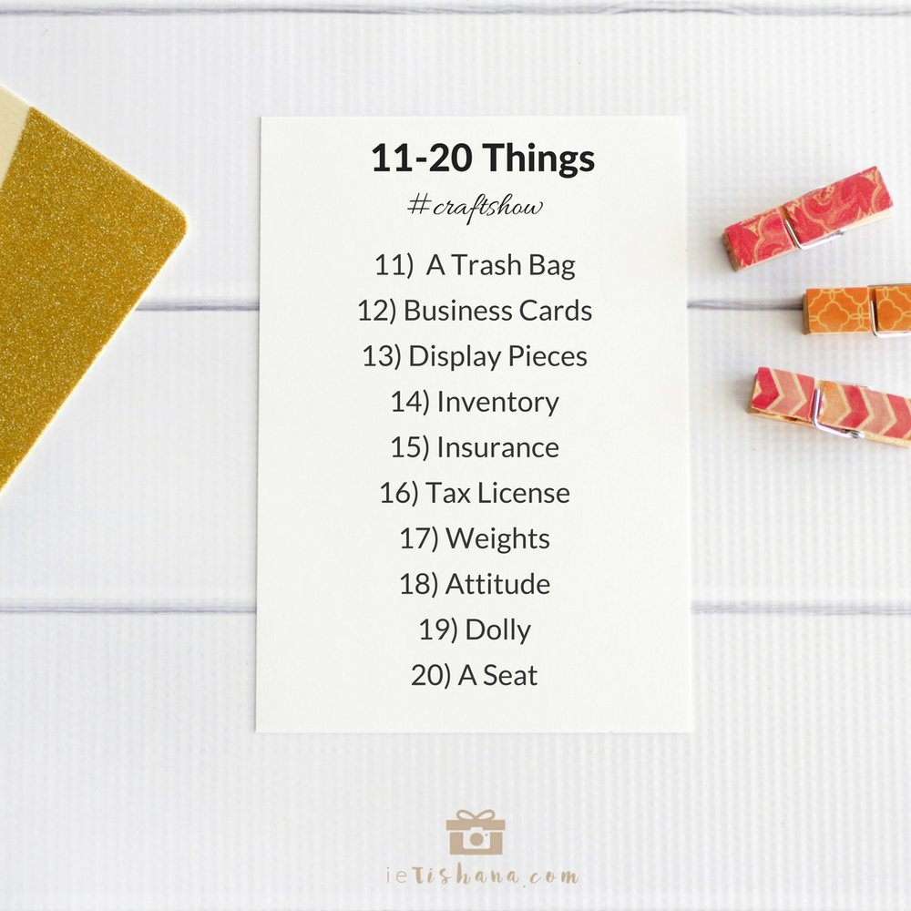 Numbers 11-20 of things to bring with you to your first craft show or handmade market | ietishana.com