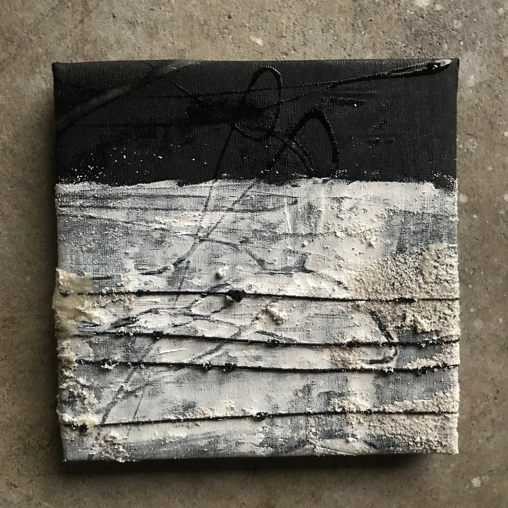 "Artifact (confinement), 8"" x 8"", mixed media (fiber, acrylic, paint), 2018"