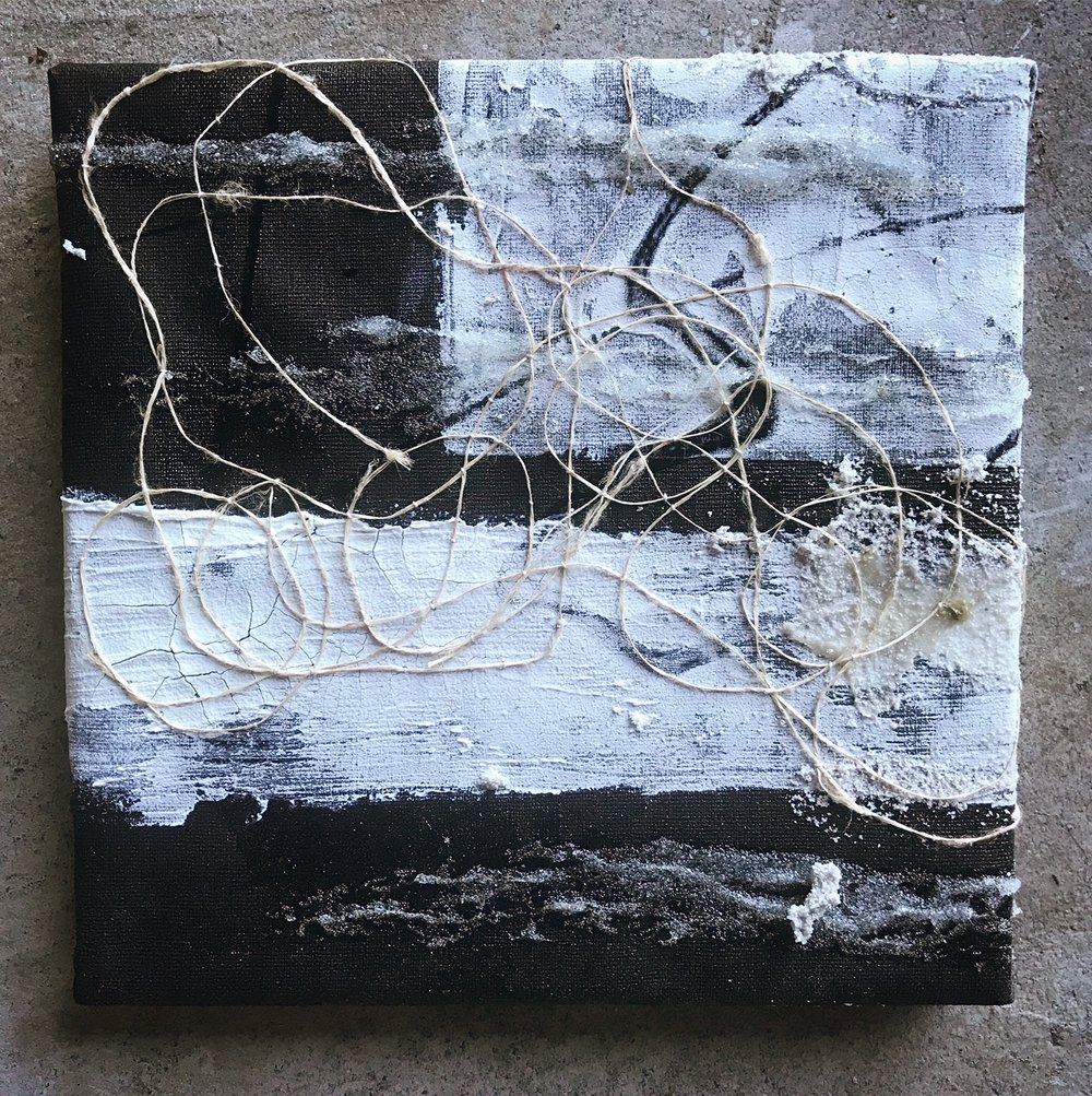 "Artifact (kingdom of ends), 8"" x 8"", mixed media (fiber, acrylic, paint), 2018"