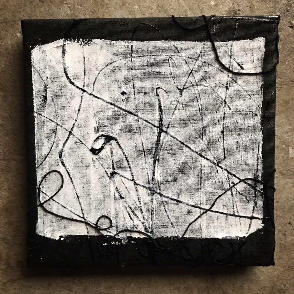 "Artifact (pale saint), 8"" x 8"", mixed media (fiber, acrylic, paint), 2018"