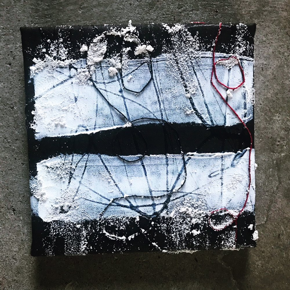 "Artifact (the mirror), 8"" x 8"", mixed media (fiber, acrylic, paint), 2018"