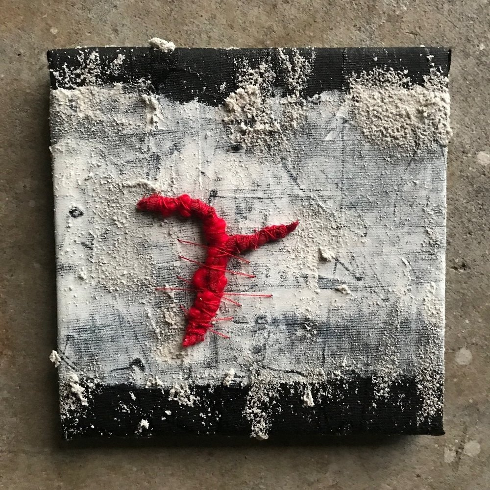 "Artifact (memory), 8"" x 8"", mixed media (fiber, acrylic, paint), 2018"