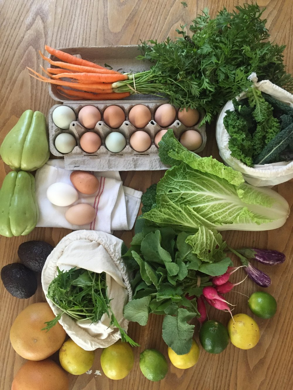 Farmer's market shopping. Re-used Egg carton.
