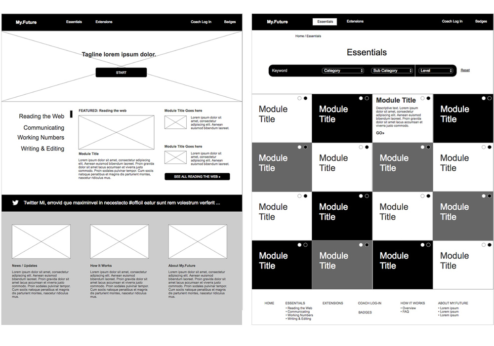 Wireframes for the Homepage and Essentials landing page