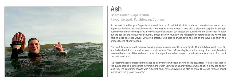 Ash customer Compass Handplanes bodysurfing great review reviews