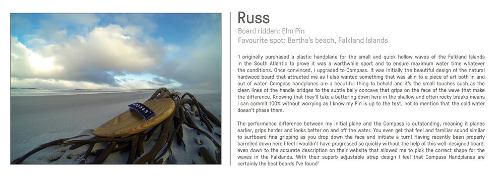 Russ O'Neill Compass Handplanes bodysurfing great review