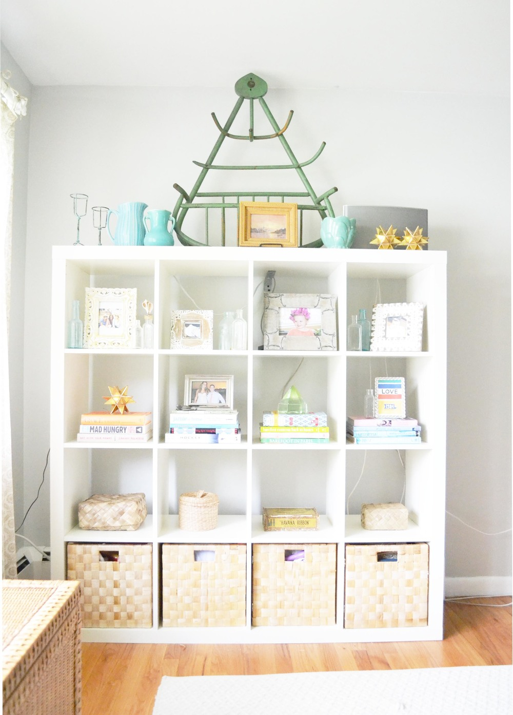 ikea shelves styled to perfection with old and new finds