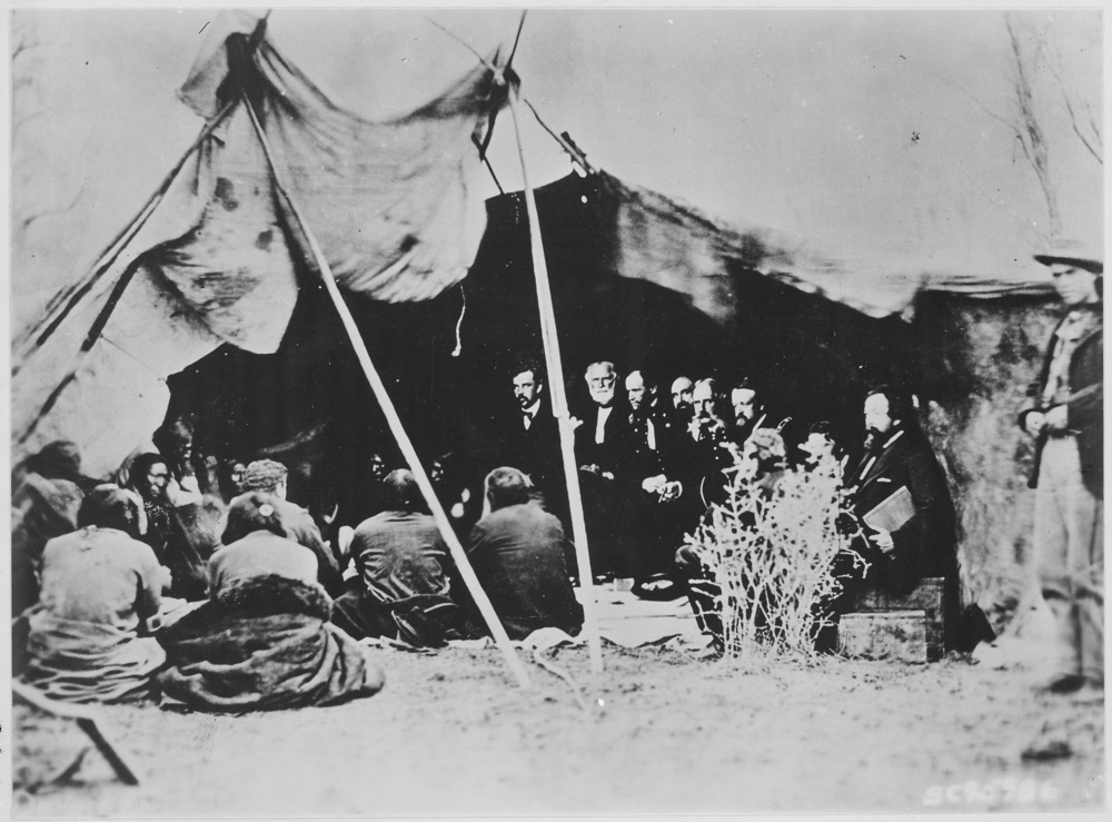 General William T. Sherman and COMMISSIONERS in Council with Indian Chiefs at Fort Laramie, wyoming
