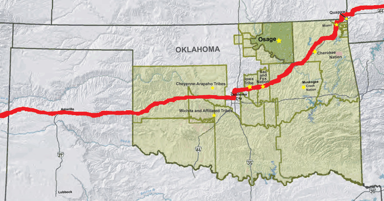 a journey down route 66 in oklahoma offers motorists the widest diversity of american indian cultures in one state 392 miles of route 66 pass through