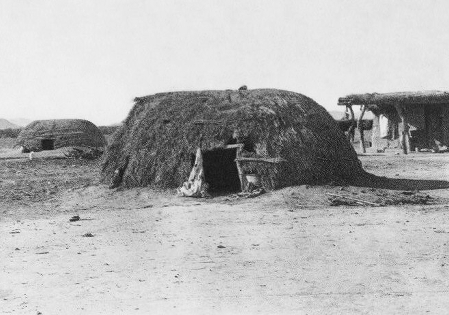 A wikiup, or wigwam, is a small, dome shaped house made from dirt and brush.  The Hualapai Tribe used readily available resources such as earth and brush to create the walls of their wikiups. They used animal skins to cover the floor.  — Historical Photo, Courtesy www.firstpeople.us