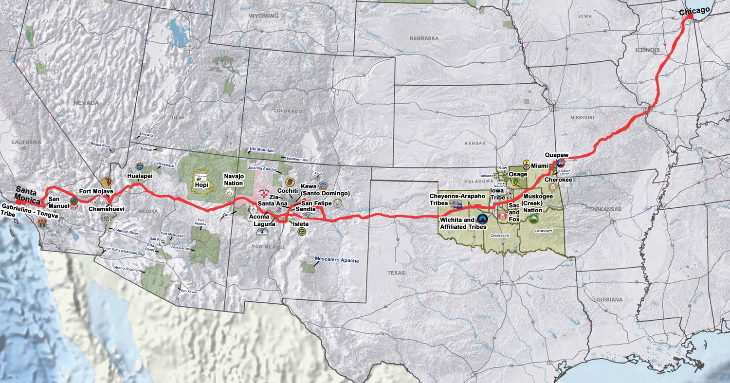 American Indians  Route - Chicago map route 66