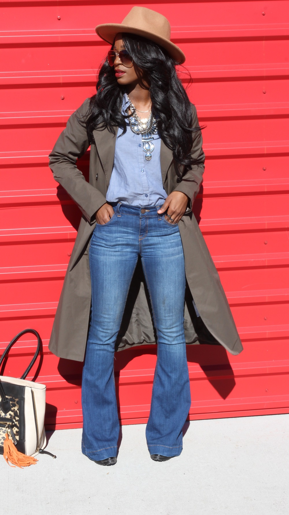 Denim and Olive Trench Coat
