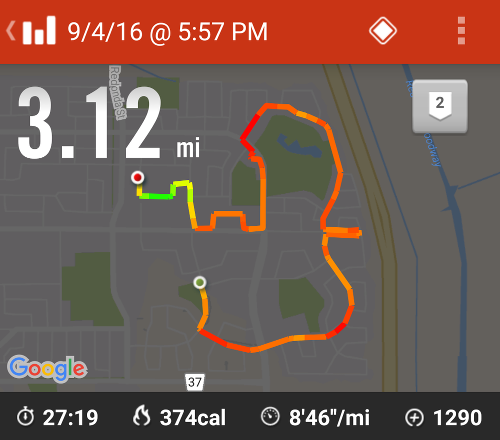 This shows my run - time and average pace.