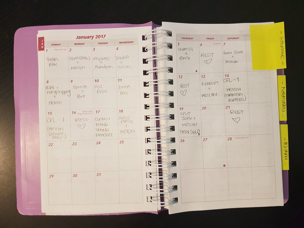 Monthly view - I write hearts on rest days to convince myself that I love rest days.