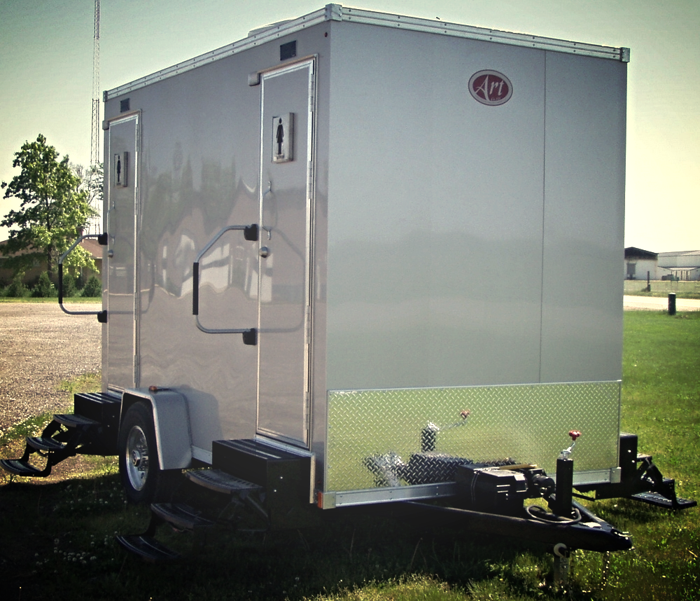 2 single mobile restroom suites maryland restroom Deluxe portable bathrooms
