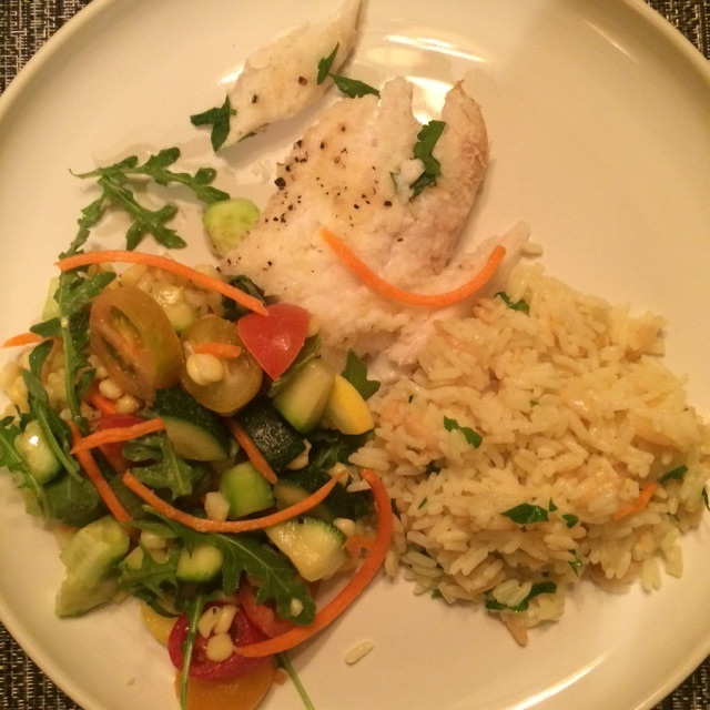 Baked Haddock, Near East Rice Pilaf, Soccotash Salad- recipe @  https://abigail-wyatt-wj7z.squarespace.com/blog/2016/3/25/spring-recipes