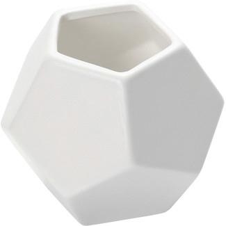 Geometric White Vase