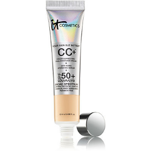Foundation:     IT Cosmetics  CC+ Corlor Correcting Full Coverage and Cream SPF 50+- Medium
